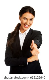 Businesswoman showing ok sign