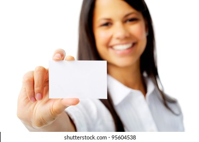Businesswoman shows a blank card for marketing, isolated on white