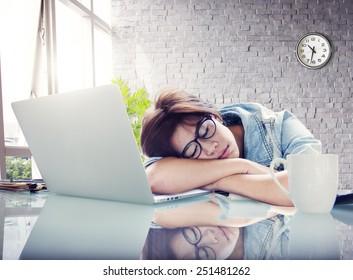 Businesswoman Sleeping Office Worker Break Digital Device Concept