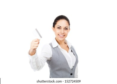Businesswoman smile hold credit card, young attractive business woman isolated over white background