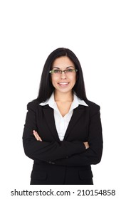 Businesswoman smile, wear eye glasses black suit, young attractive business woman folded hands isolated over white background