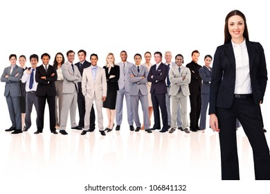 Businesswoman smiling against white background