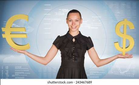 Businesswoman smiling and holding gold dollar with euro signs. Hi-tech graphs as backdrop. Business concept
