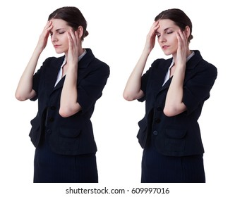 Businesswoman standing over white isolated background, business, education, office, bad feeling concept