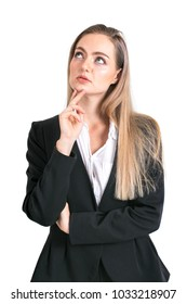 Businesswoman standing and thinking for work isolated on white background.