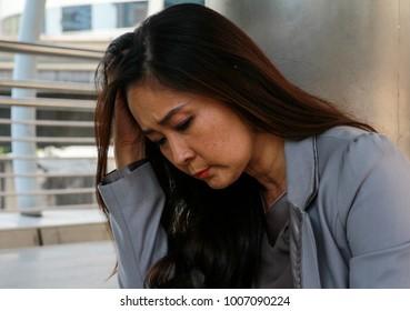 businesswoman stressed problem business concept