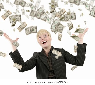 Businesswoman with success, a lot of dollars falling on her
