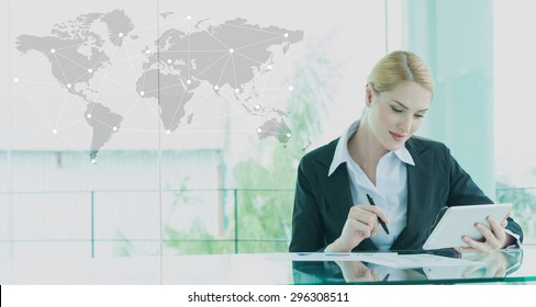 businesswoman in suit working with tablet, business globalization concept