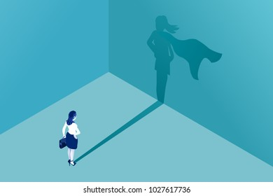 Businesswoman with superhero shadow vector concept. Isometric illustration. Business symbol of emancipation ambition success motivation leadership courage and challenge.