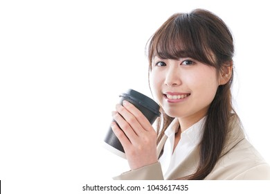 Businesswoman taking out coffee