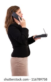 businesswoman talking on phone and looking up, isolated on white