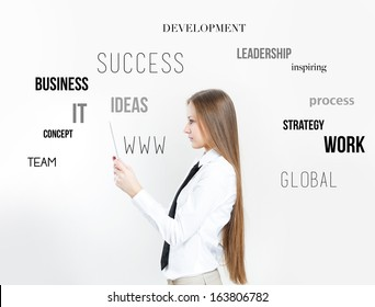 businesswoman thinking and plan business strategy