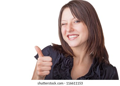 A businesswoman with thumb up sign isolated on white background