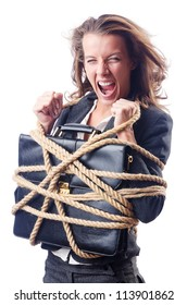 Businesswoman tied with rope on white