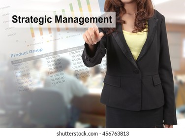 businesswoman touching screen and blurred background