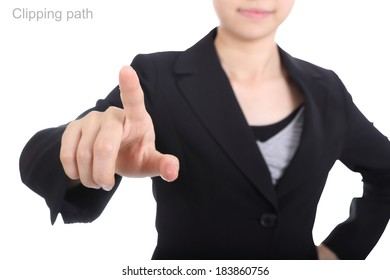 Businesswoman touching something include clipping path