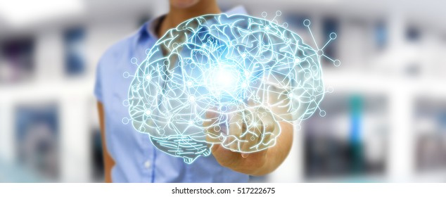 Businesswoman touching x-ray human brain with cell and neurons activity 3D rendering