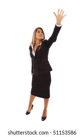 businesswoman trying to reach something with her hand