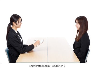 Businesswoman two-shot interview interview discussion meeting smile