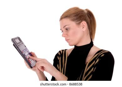 Businesswoman type on calculator.