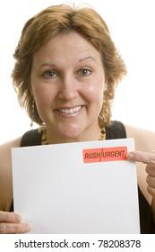 Businesswoman urgent letter reminder