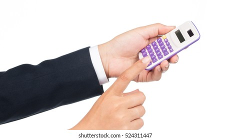 Businesswoman use of calculator isolated on white background
