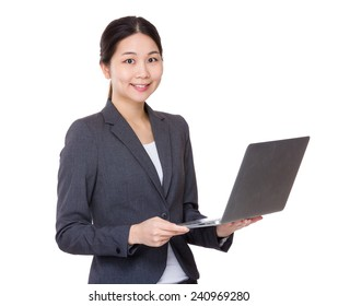 Businesswoman use of laptop