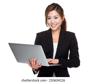 Businesswoman use laptop computer