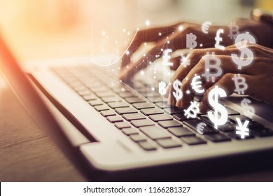 businesswoman uses laptop computer, world currencies, bitcoin wallet cryptocurrency on virtual screen, fintech financial technology, internet payment, money exchange, digital banking concept