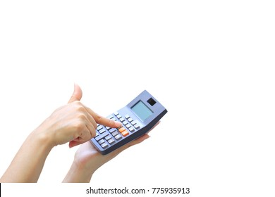 Businesswoman using a calculator on white background, Accountants calculating profit and Interest rates concept.
