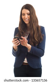 Businesswoman Using a Cellphone - Isolated