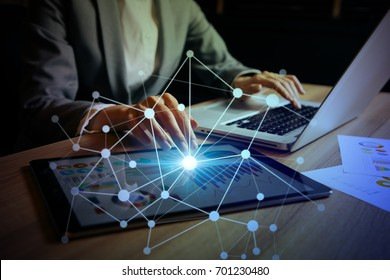 businesswoman using digital devices. IoT(Internet of Things). ICT(Information Communication Technology). mixed media.