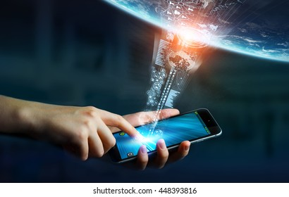 Businesswoman using digital tactile phone to send information to the world 'elements of this image furnished by NASA' '3D rendering'