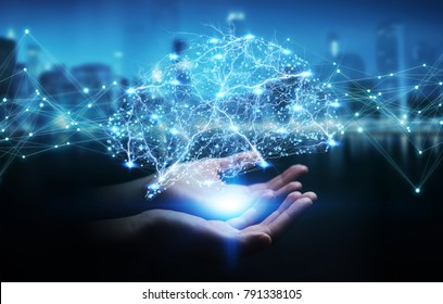 Businesswoman using digital x-ray human brain interface with cell and neurons activity 3D rendering