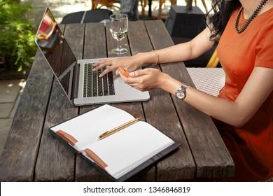 Businesswoman using e-bamking token