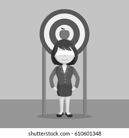 businesswoman using her self as a target black and white color style