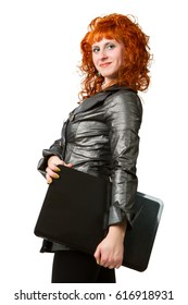 businesswoman using laptop computer, smiling. Isolated on white background.