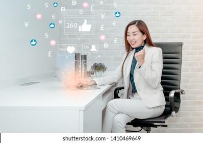 Businesswoman using laptop for make money by social media, Social media Marketing concept