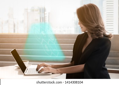 Businesswoman using laptop for social media, Social media Marketing concept