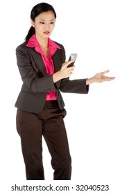 A businesswoman using a portable phone