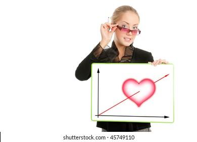 Businesswoman with Valentine's Day diagram, white background