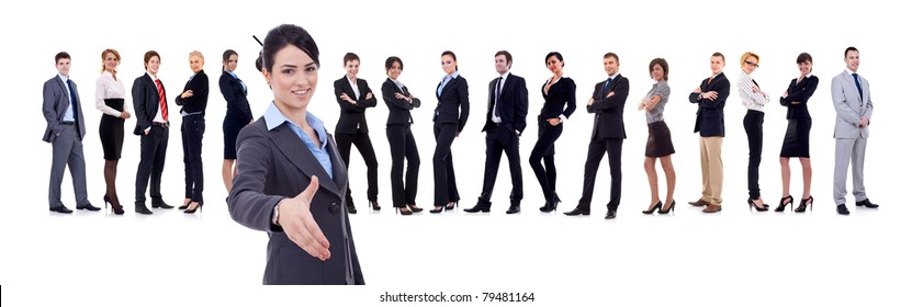 businesswoman welcoming to her successful business team over white