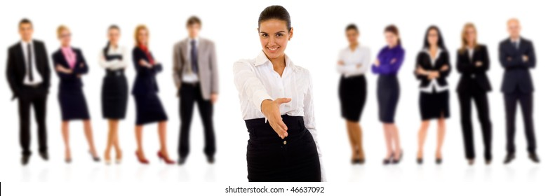 businesswoman welcoming you to her team over white