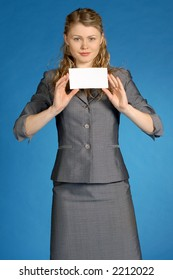 business-woman with white leaf for text
