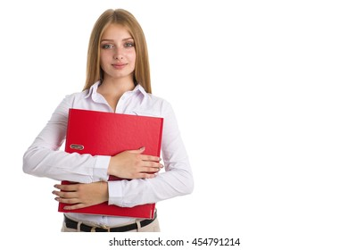 Businesswoman in a white shirt holding a red folder