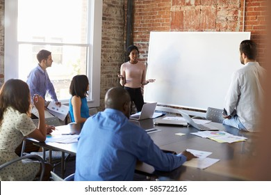 Businesswoman At Whiteboard In Brainstorming Meeting