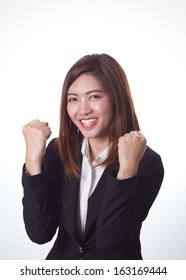 Businesswoman who succeed on white background
