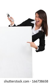 businesswoman winking and holding a cell phone