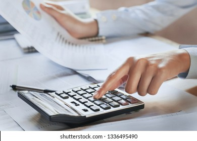 businesswoman working check data of document finance in office