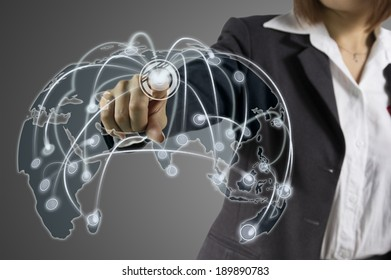 Businesswoman working with digital virtual screen